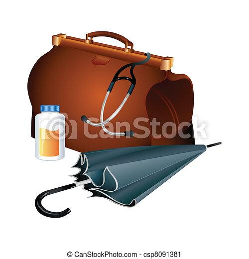 Vector Clip Art of Doctor bag - Family doctor survival kit ...