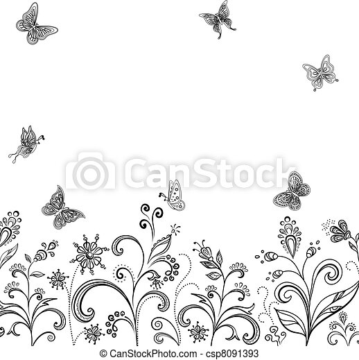 Flowers and butterflies, contours - csp8091393