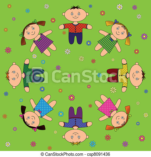 Children relax on meadow - csp8091436