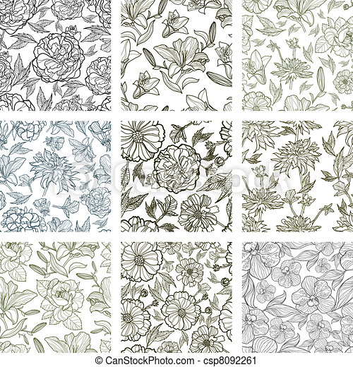 set of seamless floral patterns - csp8092261