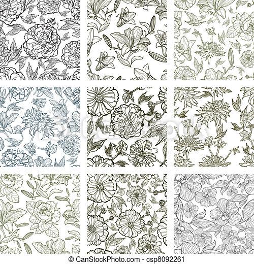 set of seamless floral patterns - csp8092261
