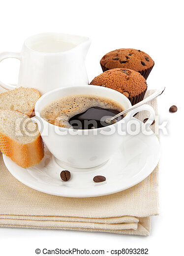 coffee with milk and cake - csp8093282