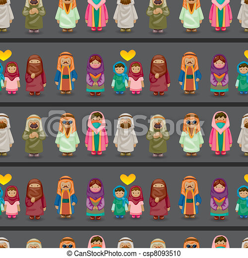 cartoon Arabian people seamless pattern - csp8093510