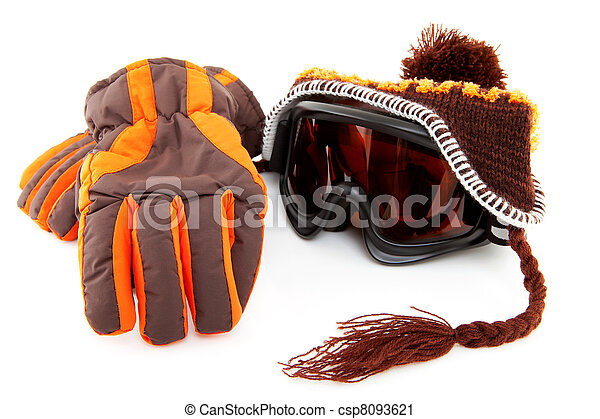 ski goggles, hat and gloves - csp8093621
