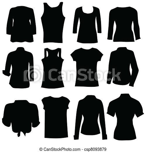 Vector - clothing for women black art silhouette - stock illustration