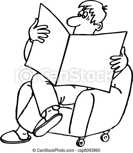 Vector Clipart Of Man Reading Newspaper In The Armchair