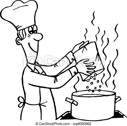 Line art eps picture pictures graphic graphics drawing drawings - Vector Illustration Of Cooking Process Cook Making A