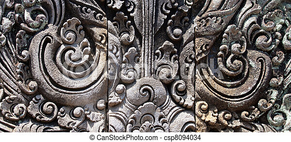 Balinese traditional stone carving elements - csp8094034