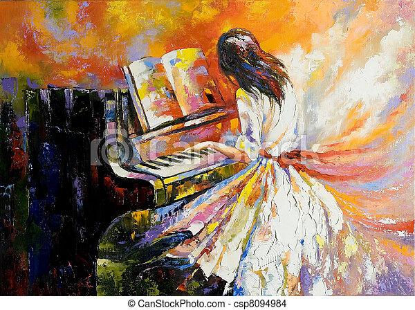 鋼琴, 女孩, 玩 - csp8094984