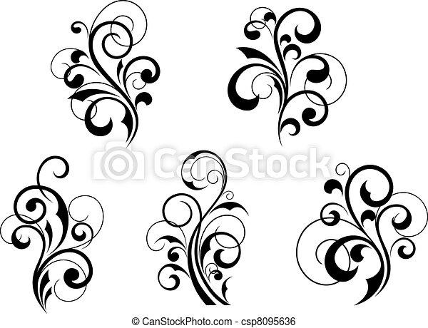 Floral elements and motifs - csp8095636