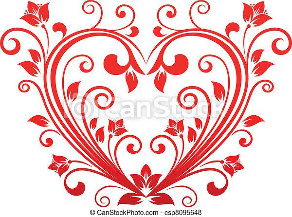 Valentine floral heart - csp8095648