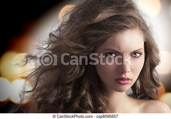 alluring brunette with creative hairstyle - csp8095657