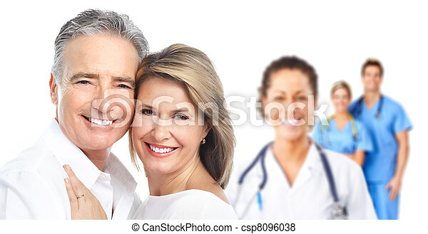 Medical doctor and elderly couple patient. - csp8096038