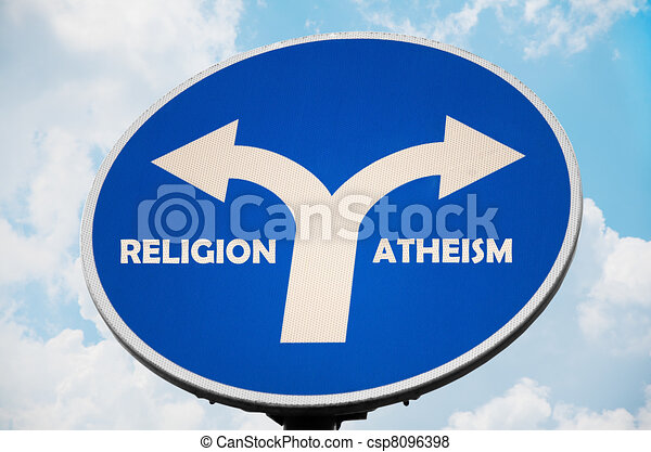 Religion and Atheism sign - csp8096398