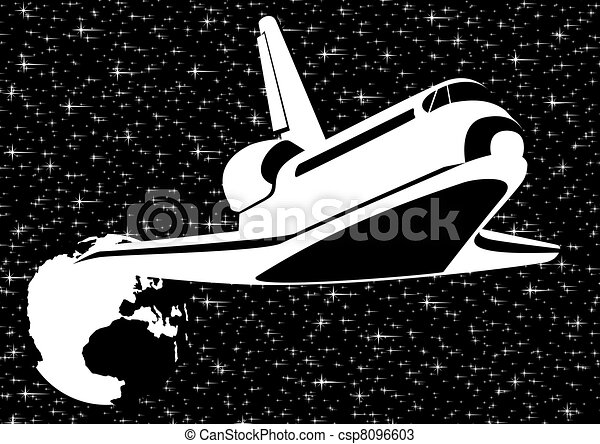 White Space Drawing Spacecraft in Space