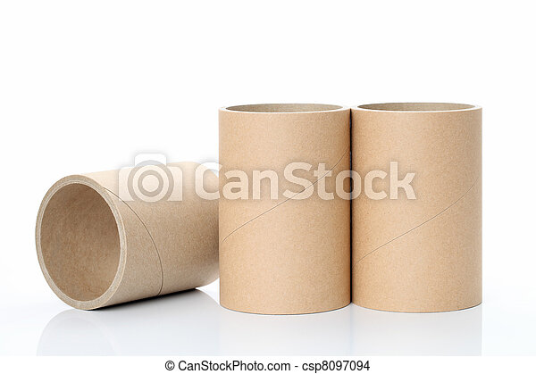 industrial paper tube on a white ba - csp8097094