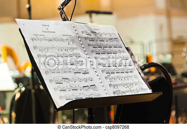 Musical instruments and sheet music - csp8097268