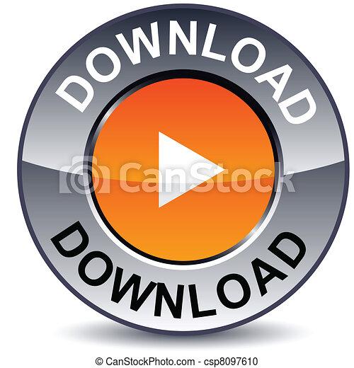 Download round button. - csp8097610