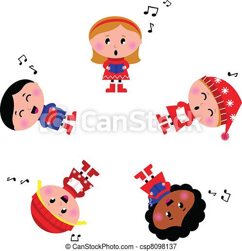 Winter kids singing Silent Night song. Cartoon Illustration. - csp8098137
