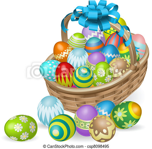 Colourful painted Easter eggs basket - csp8098495