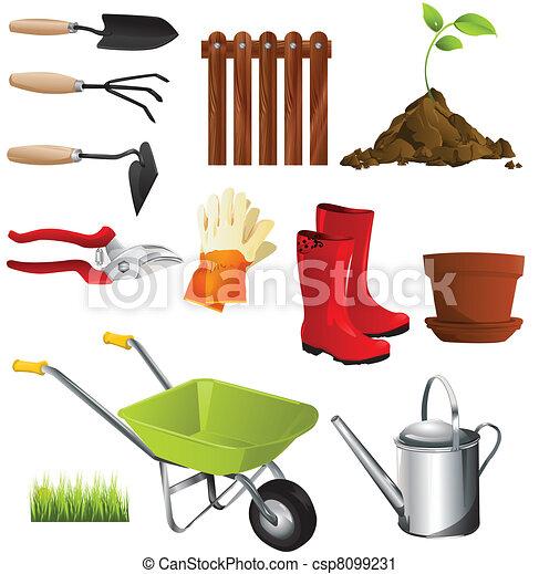 Vector clip art of garden tools garden tools csp8099231 for Gardening tools drawing