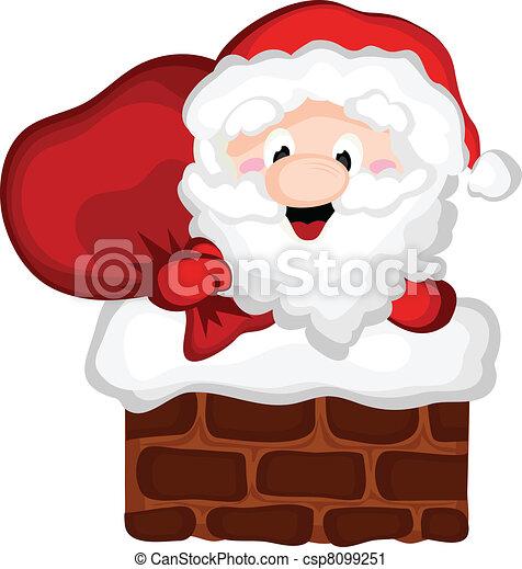 Santa In the Chimney - csp8099251