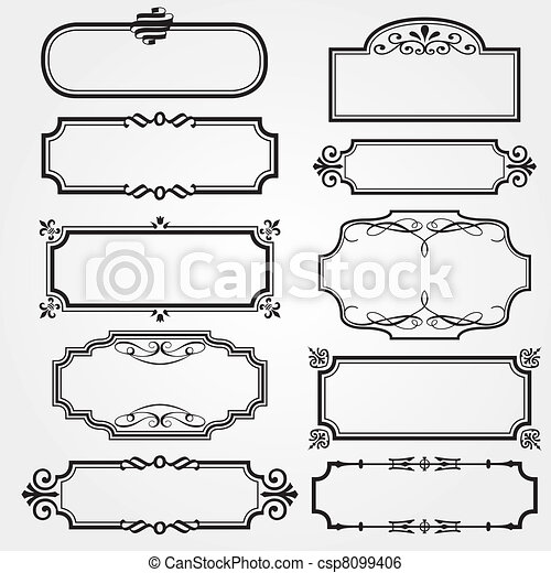 Set of ornate vector frames  - csp8099406