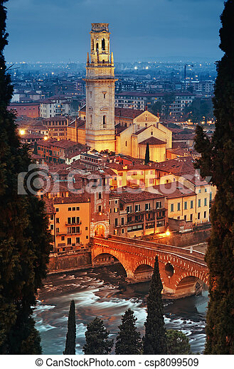 Ponte Pietra and Verona Cathedral - csp8099509