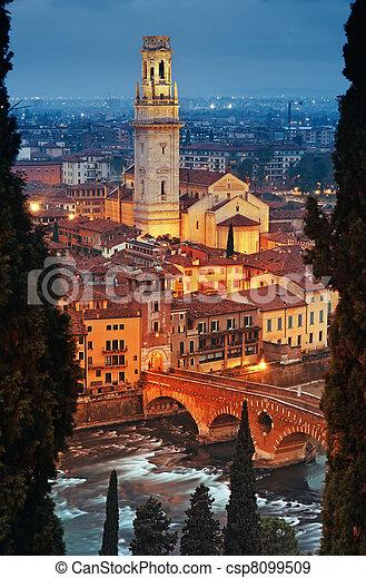 Ponte Pietra and Verona Cathedral  - csp8099509