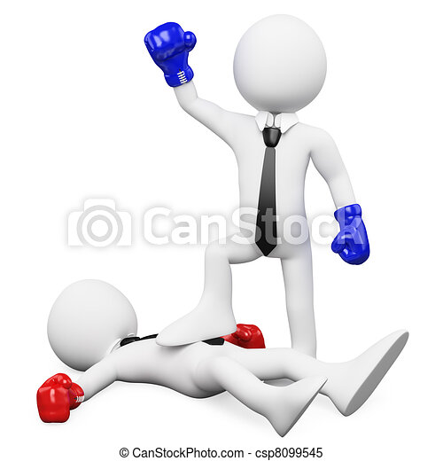 Businessman winning a boxing match - csp8099545