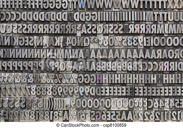vintage metal letters and numbers - csp8100859