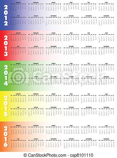 Five-Year Calendar 2012-2016 - csp8101110