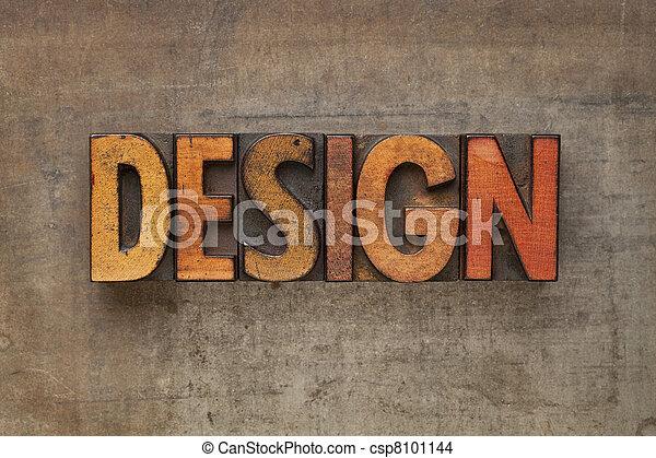 design word in letterpress type - csp8101144