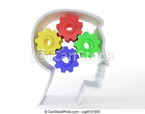 Human intelligence and brain function represented by gears in the shape of a head representing the symbol of mental health and neurological functioning in patients with depression. - csp8101605