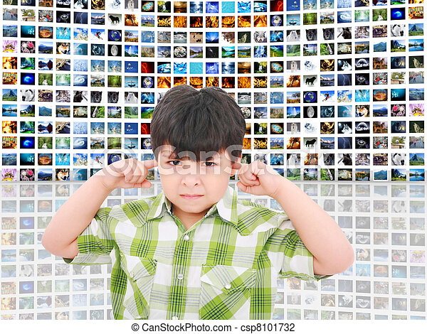 kid protecting ears from loud noise of so many screens talking - csp8101732