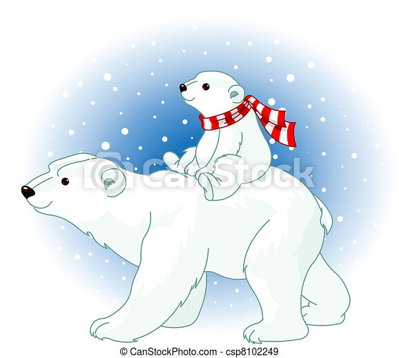 Polar Bear mom and baby  - csp8102249