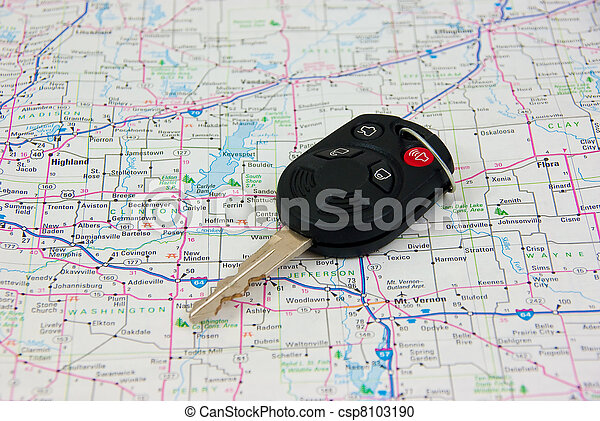 Automobile key against Road Map background - csp8103190