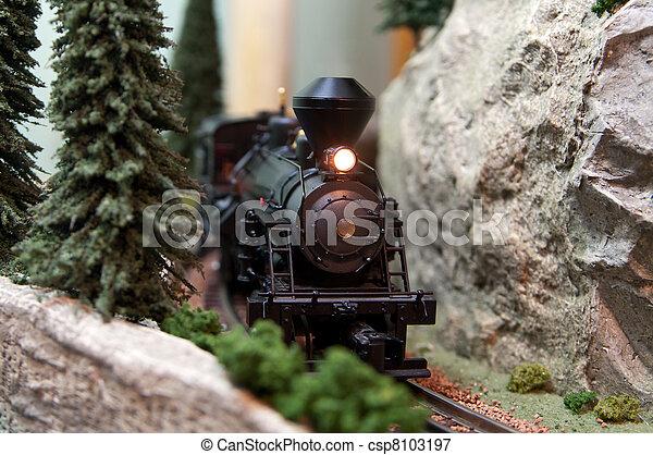 Toy Locomotive on train track  - csp8103197