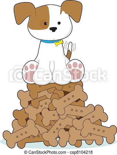 Cute Puppy and Bones - csp8104218