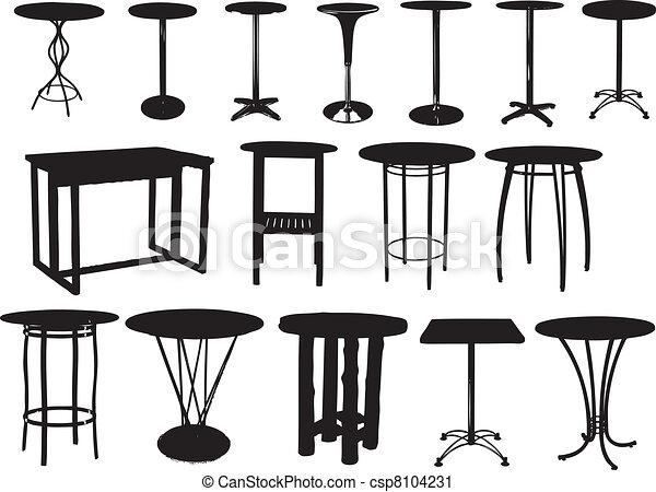 Vector clip art de un conjunto barra mesas vector for Mesas de dibujo artistico