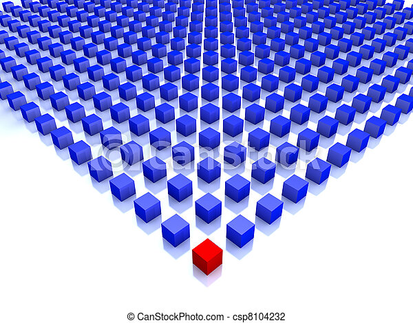 field of blue cubes with one red on the corner - csp8104232