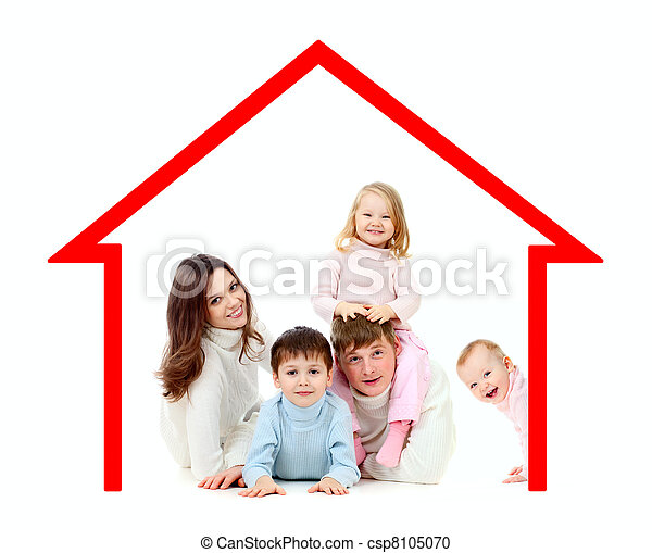 Happy family  in their own home concept - csp8105070