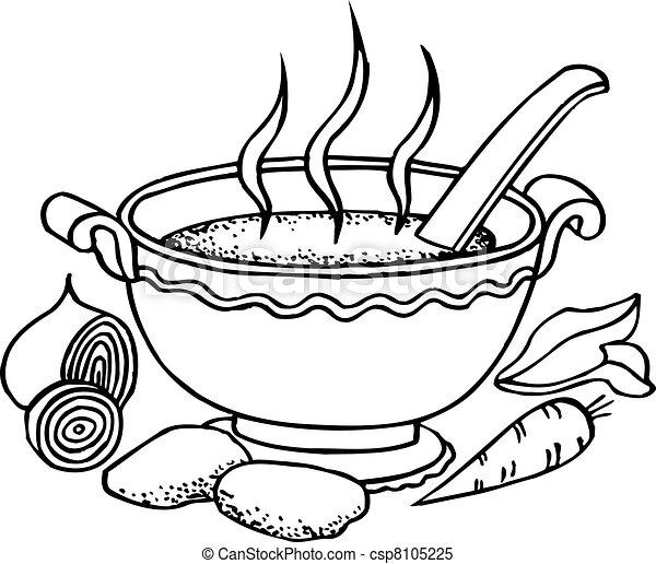 Vecteur clipart de nourriture bol de chaud soupe et for Art et cuisine chaudron line