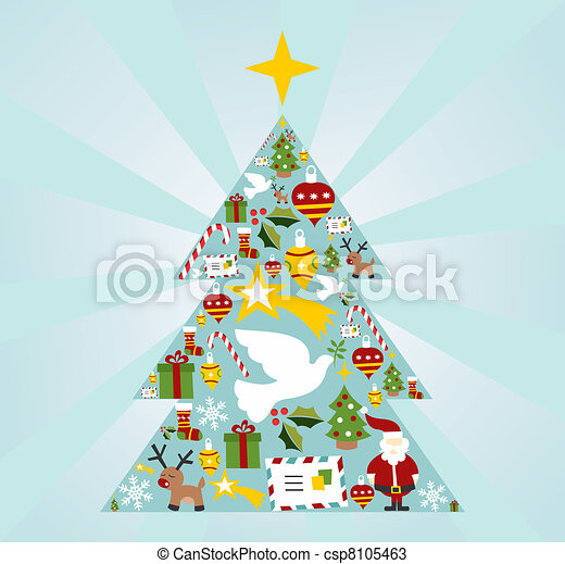 Christmas icon set in season tree shape - csp8105463