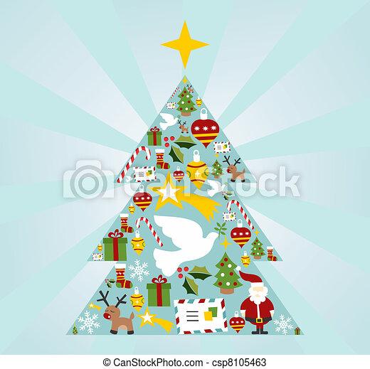 Christmas icon set in season tree shape - csp8105463