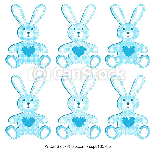 Set of blue applique hare. - csp8105785
