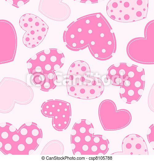 Seamless pattern with applique hearts. - csp8105788