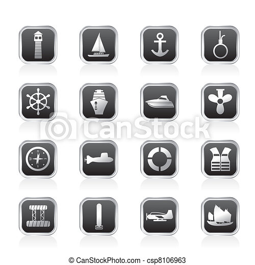 Simple Marine, Sailing and Sea Icon - csp8106963