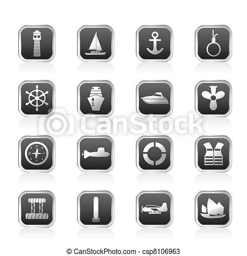 Simple Marine, Sailing and Sea Icon - csp8106963