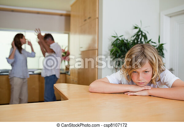 Boy is sad about fighting parents - csp8107172
